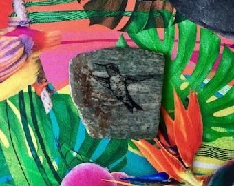 Natural Stone Coaster - Hummingbird