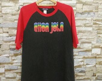 Vintage Elton John Shirt Concert Tour Rare Elton John Rock Band T-Shirt Medium USA