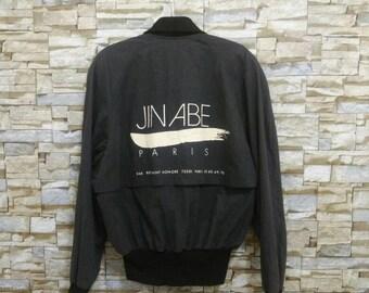Vintage JIN ABE Paris Jacket Rare Designer Fashion Japan Issey Miyake Yohji Yamamoto Comme des Garçons Junya Watanabe Black Bomber Jacket 38