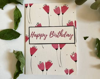 Floral Happy Birthday Card, Pink Flowers, Pretty Birthday Card, Floral Birthday Card
