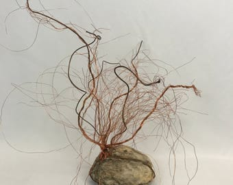 Bad Hair Day Copper Wire Sculpture with Stone stand