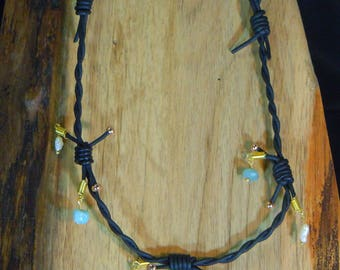 Necklace N94 Barbwire leather, Pearl, Aquamarine