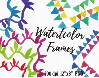 Square & Rectangle Frames Watercolor, Rectangle Border Clipart, Square Frames Sets, Border Sets, Watercolor Doodle, Illustration