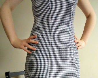 50% OFF! 80's Does the 60s Gingham Wiggle Dress with Criss-Cross Back, Mod Midi Wiggle Dress, Gingham Bombshell Dress, Gingham Body Con S/XS