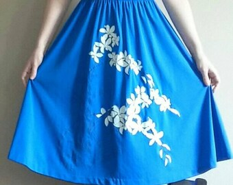 70's Original Alfred Shaheen Hawaiian Mod Cerulean Blue Swing Dress with White Orchids, Size M/L