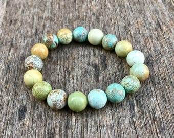 Chunky Pure Hubei Turquoise Bracelet Unstabilized 11mm Chinese Hubei Turquoise Gemstone Bracelet Blue Green Pastel Hubei Turquoise Rounds