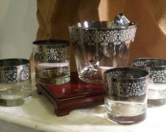 Mid Century Barware / Vintage Tumbler Ice Bucket / Drink Ware / Glass Set / Silver Rim Glasses / gifts for him