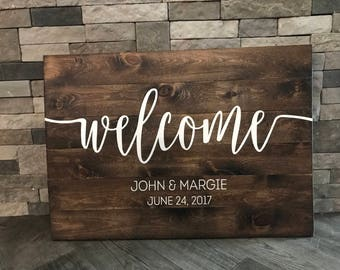 Welcome Wedding Sign, Wedding Decor, Wedding Ceremony Sign, Wedding Sign, Rustic Wedding, Rustic Chic Wedding, Customizable Sign