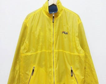 Hot Sale!!! Rare Vintage 90s FILA Big Logo Spell Out Riversible Jacket Hip Hop Swag Large Size