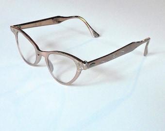 Art Craft CatEye Glasses Aluminum with Original Case - Very Retro