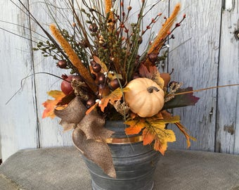 A Fall Floral Galvanized Tin Arrangement, Farmhouse, Autumn Centerpiece, Thanksgiving Table Arrangement, FAAP, Wedding, Pumpkins