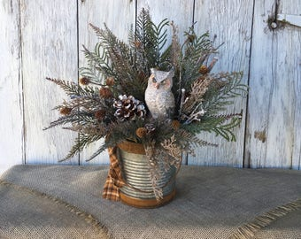 Owl Winter Arrangement, Owl Holiday Centerpiece, Christmas Arrangement, Owl Winter Centerpiece, Owl Christmas Centerpiece