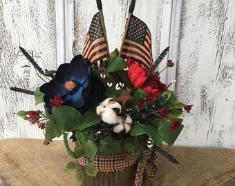Galvanized Tin Americana Floral Arrangement, Memorial Day Arrangement, Fourth of July Decor, American Flag, FAAP, Primitive Flag Arrangement