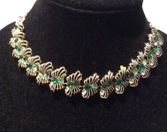 Coro Green Rhinestone Necklace