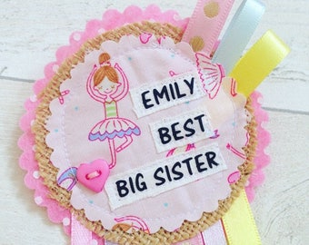 Big Sister rosette, Sibling Gift, Personalised rosette badge, Big Sister Gift,