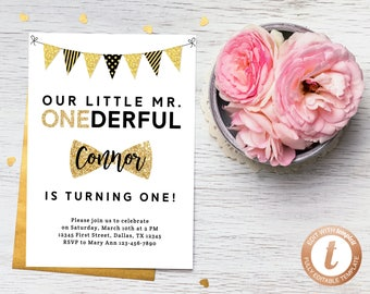 INSTANT DOWNLOAD Invitation Template, Mr. Onederful Invitations, Mister One-derful, Baby Boy Birthday, First Birthday Invite, Templett
