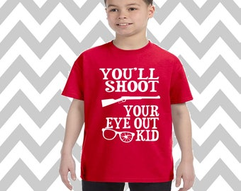 Youth You'll Shoot Your Eye Out Unisex T-Shirt Ugly Christmas Shirt Ugly Sweater Party Funny Christmas Tee Kids Holiday Tee