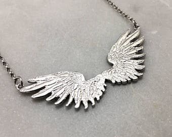 Tiny Double Silver Wings Necklace