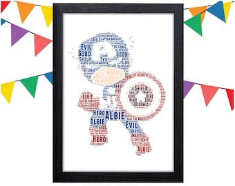 PERSONALISED Captain America Word Art Print Gift Idea Marvel The Avengers  Birthday Present For Him Superhero