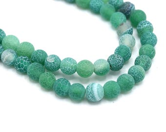 X 10 green Efflorescence 6mm round green natural agate beads