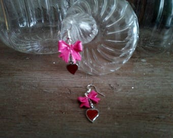 "Earrings ""Knots"" pink with heart charm red (NOD_001)"