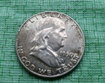 1950 Franklin silver half dollar , Xf -AU. #695