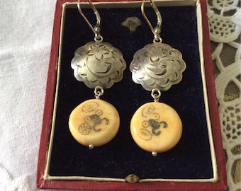 VINTAGE STERLING Earrings - Genuine PAINTIG paintig - Art Deco hand made - Hand carved silver-Design Artist signed
