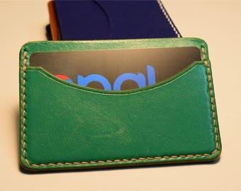 Green Kangaroo Leather Card Wallet, Slim Card Wallet, Leather Card Wallet, Personalised