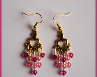 Rose gold earrings and Swarovski crystals
