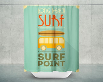 Surf shower curtain | Etsy