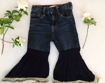 Upcycled Baby Bell Bottoms- size 2T
