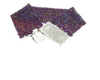 Metallic Violet, blue, gold Seedbead Bracelet