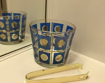 Vintage Blue and Gold Glass Ice Bucket with Gold Tongs