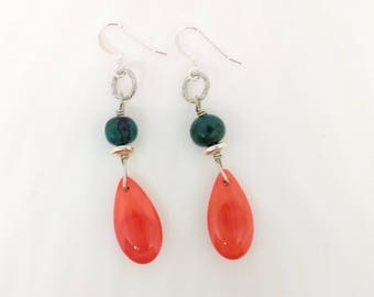 Coral Teardrop Stone Earrings with Teal Hand-carved Wooden Bead Accent