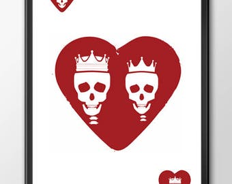 King and Queen of Hearts | Immortal Love | 18x12 Inch | Custom Poster Wall Decor | Royal Card Family Series