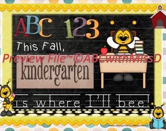 Back to School Milestone-Kindergarten-Bee Theme-Photo Prop Sign- Scrapbook or Baby Book Marker-Memories-Teacher-Gift for Kindergartener
