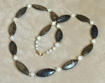 Bronzite Moonstone Necklace with Gold Filled Finishings