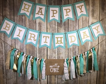 Custom Birthday Party Package, Wild One Birthday Package , First Birthday Package, Turquoise Gold High Chair Banner, Happy Birthday Banner