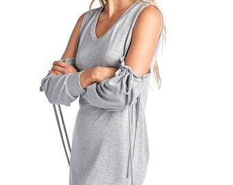 Women's Cold Shoulder 3 Quarter String Dress