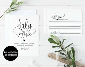 Baby Advice Cards, Printable Baby Shower Advice Cards, 5x7 & 8x10 Advice Sign, Instant Download, Printable Advice Cards PDF