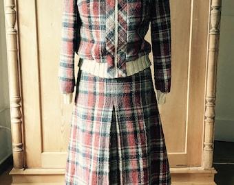 Wonderful wool tartan sporty 1970s skirt suit,