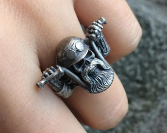 Skull Motor Biker Ring in Sterling Silver Metal, Skull Ring, Biker Ring, Skull Ring, Man Ring, Biker Jewelry, Skull Jewelry, Gift for Man