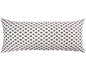 Gray White Circle Pattern Maternity Pregnancy Long Body Pillow Cover