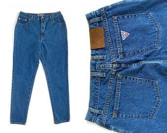 90s Guess High Waisted Denim Blue Jeans (Women's Size 31-32)