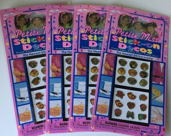 New old stock 1993 Petite Miss Stick-on Decos gem jewels stick on earrings
