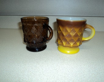 Lot of 2 Vintage Fire King Kimberly Mugs - Root Beer and Gold