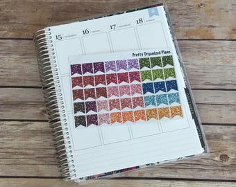 Multicolor Glitter Small Page Flags || 45 Planner Stickers