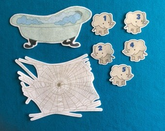 2 Felt stories Elephants bathtub/spiderweb//felt board  stories set//flannel stories numbers//flannel board and stories math