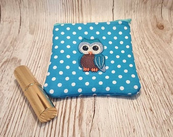 Coin purse blue polka dots and owl, child's purse