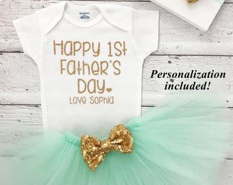 Father's Day Onesie, First Father's Day Onesie, Father's Day Outfit, Tutu Set, Mint Tutu